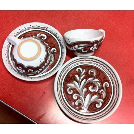 Set in ceramica, con 2 tazzine rosse