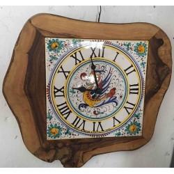 Horloge murale en bois et céramique