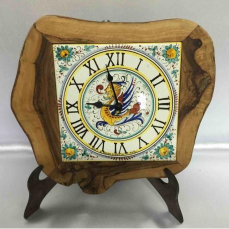 Orologio da tavolo o da parete in legno e ceramica