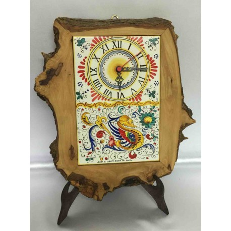 Orologio da tavolo o parete in legno e ceramica