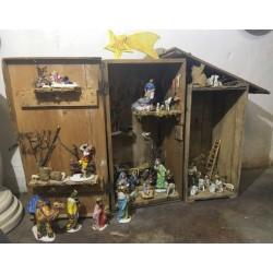 Crèche de Noël en bois et céramique