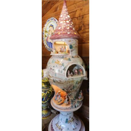 Ceramic Christmas crib on column