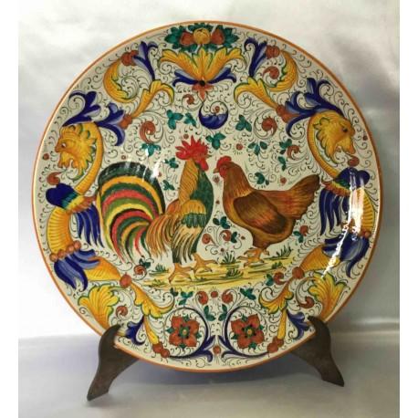 Plaque d'ameublement en céramique Deruta, avec coq et poule