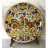 Piatto d'arredo in ceramica Deruta, con gallo e gallina