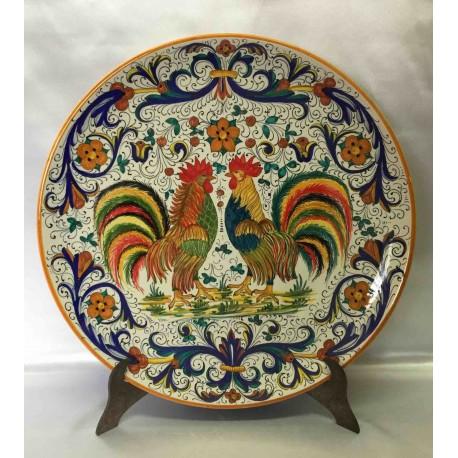 Placa de decoración de cerámica Deruta, con 2 gallos