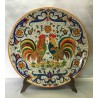 Plate in ceramic Deruta, with 2 roosters