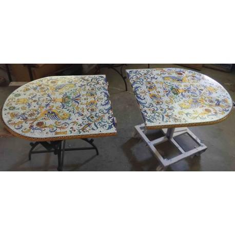 Ceramic Deruta elliptical table, Raffaello style