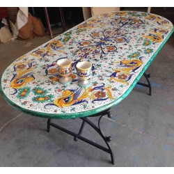 Ceramic elliptical table, rich Deruta style