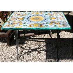 Rectangular ceramic table, rich Deruta style