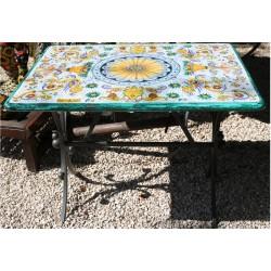 Tavolo rettangolare in ceramica, stile ricco Deruta