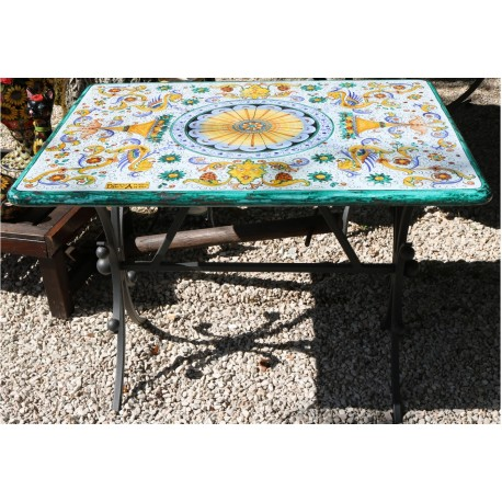Table rectangulaire en céramique, style Riche Deruta