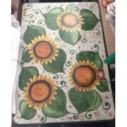 Rectangular ceramic table with sunflowers