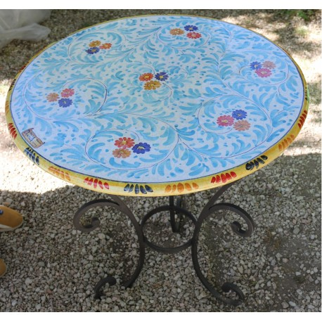 Hand-painted Deruta ceramic round table