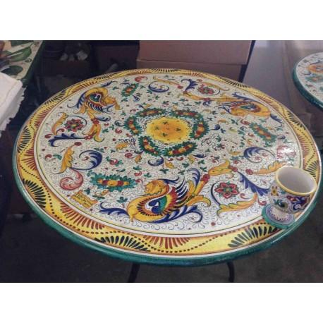Ceramic round table, rich Deruta style, green border