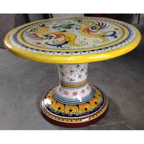 Ceramic round table, rich Deruta style