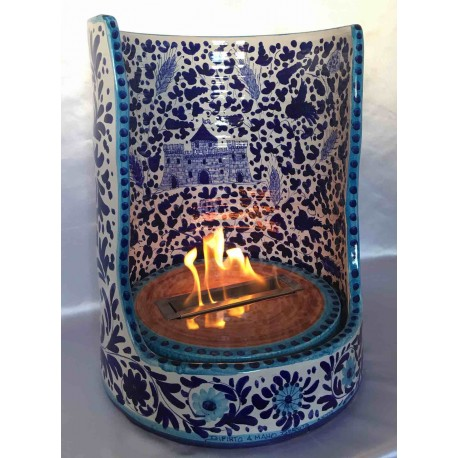 Bio ceramic fireplace, hand painted, arabesque style