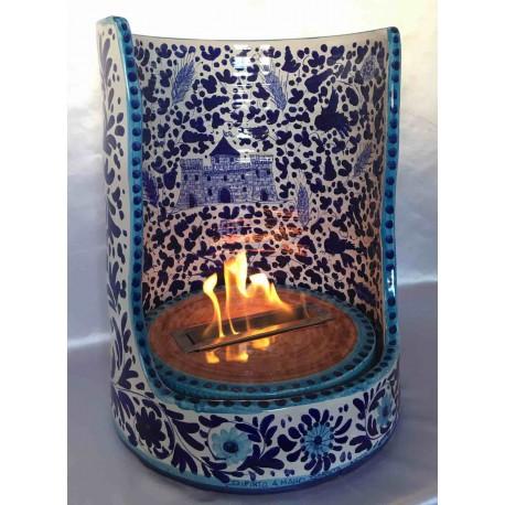 Bio caminetto in ceramica, dipinto a mano, stile arabesco