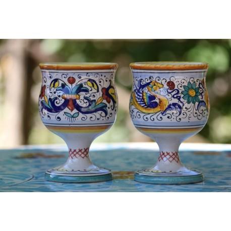 Verres en céramique, style Riche Deruta