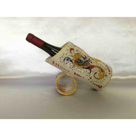 Ceramic table bottle holder, Deruta Raffaello's style