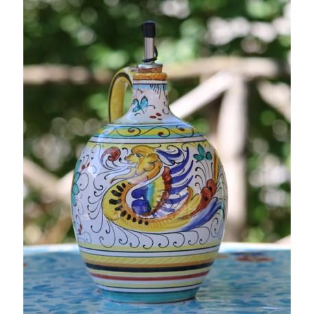 Aceitera de cerámica Deruta pintada a mano