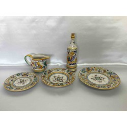 Set of 3 Deruta ceramic plates: top, bottom, fruit