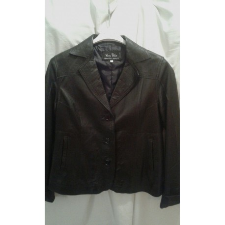 Jacket in genuine leather for women, black color