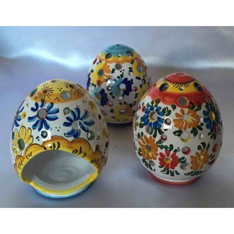 Small ceramic candle holder egg