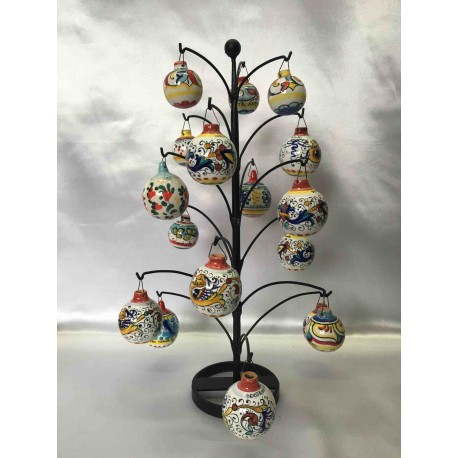 Christmas tree in wrought iron with ceramic balls