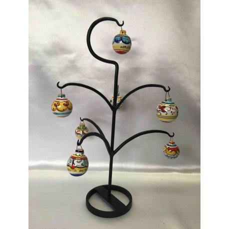 Christmas tree in wrought iron with 7 ceramic balls