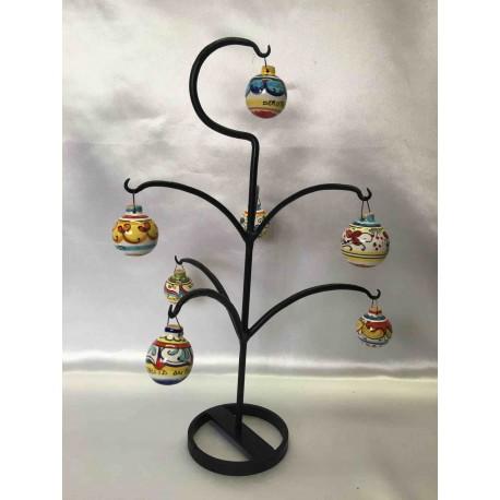 Albero di Natale in ferro battuto con 7 palline in ceramica