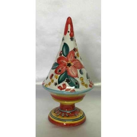 Ceramic candle holder in the shape of a small Christmas tree