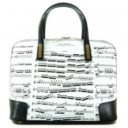 HELENA NEWS HAND BAG IN LEATHER AND GRAPHICS