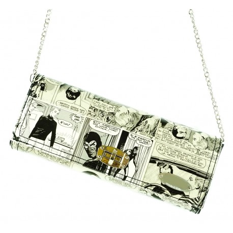 EVA POCHETTE IN LEATHER AND GRAPHICS