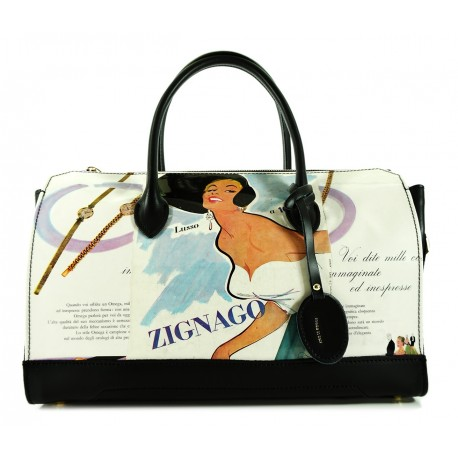 SINGLE BAULETTO BAG AUDREY LARGE IN LEATHER AND GRAPHICS