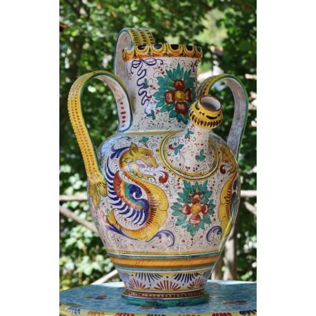 Anfora stile raffaellesco in ceramica Deruta