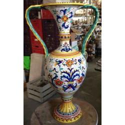 Ánfora de cerámica, estilo rico Deruta