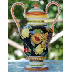 Ánfora de cerámica Deruta, decoración de frutas