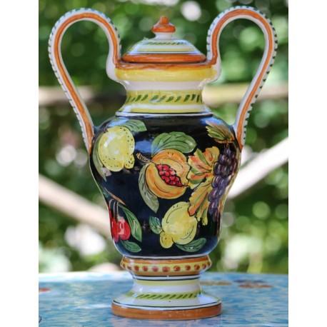 Amphore en céramique Deruta, décoration de fruits