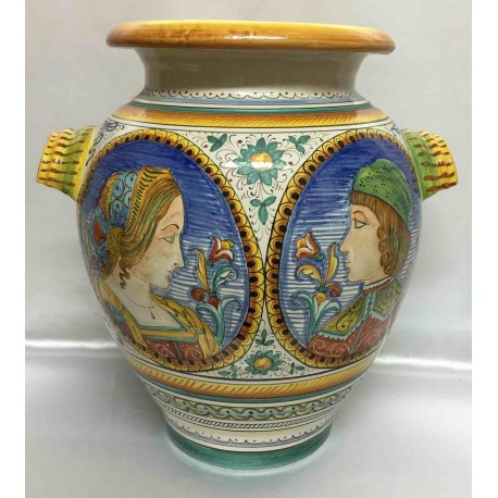 Amphora in ceramic Deruta with 2 faces (man/woman)