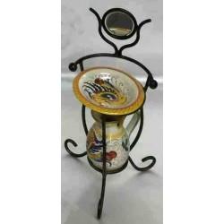 Table de toilette vintage mini en céramique Deruta et fer forgé