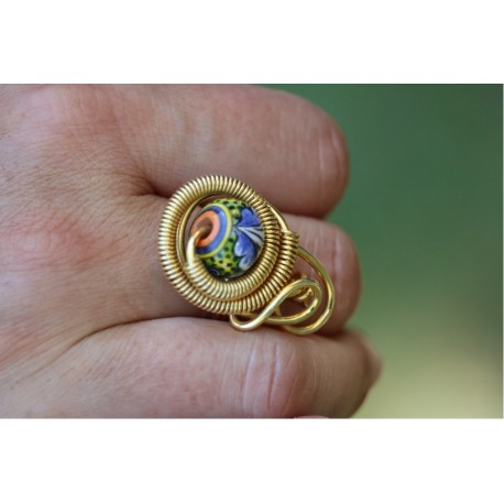 Ceramic, copper and brass ring in gold bath