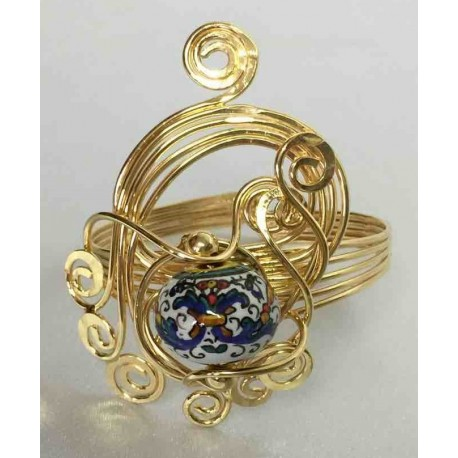 Ceramic, copper and brass ring in gold bath