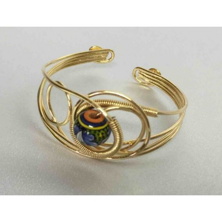 Ceramic, copper and brass bracelet in gold bath