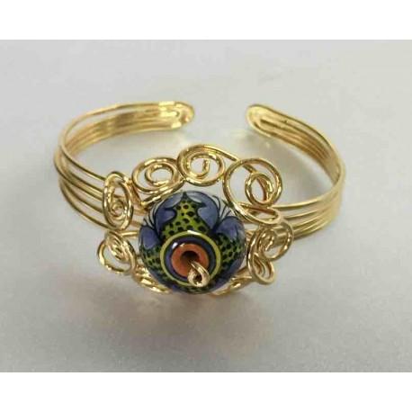 Bracciale in ceramica, rame ed ottone in bagno d'oro