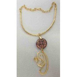 Ceramic, copper and brass necklace in gold bath