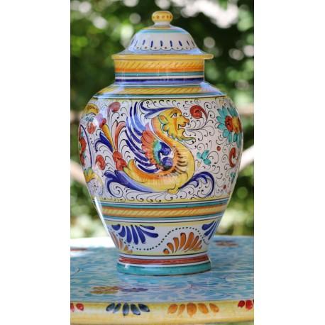 Vaso in ceramica Deruta con coperchio, stile raffaellesco