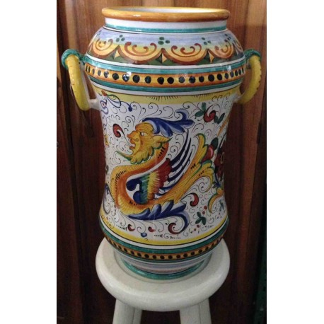 Vase in ceramic Deruta, double decoration