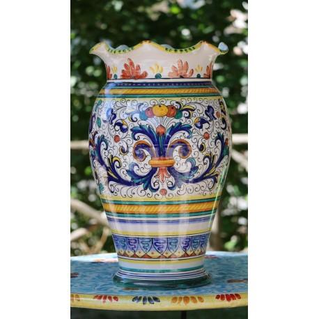 Deruta ceramic vase, crenellated edge, double decoration