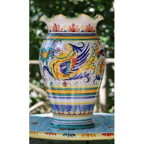 Vase en céramique Deruta, style Raphael, bord crénelé