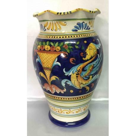 Vase en céramique Deruta, style Raphaël, fond bleu, bord crénelé